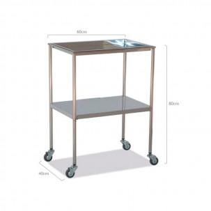 mesa auxiliar acero inoxidable bandeja superior extraible
