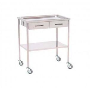 Mesa auxiliar acero cromado bandeja superior extra ble con - Mesa auxiliar con cajones ...