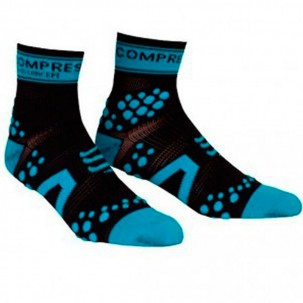 Oferta Final Temporada - Calcetines ultratécnico Alto Compressport Pro Racing Socks V2 Run High Cut - Color Negro-Azul - TALLA: T1 (34-36cm)