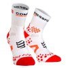 Compressport Pro Racing Scoks V2.1 - Calcetines Ultratécnico Medio Run Low - Color Blanco-Rojo