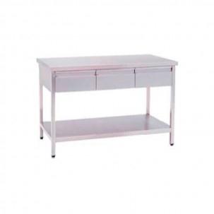 Mesa de trabajo en acero inoxidable con 3 cajones y 2 planos lisos mesas de trabajo - Mesa de trabajo acero inoxidable ...