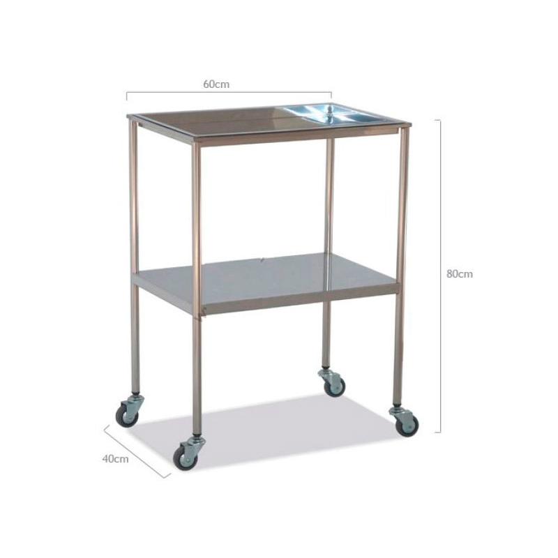 Mesa auxiliar acero inoxidable bandeja superior extraible for Carritos con ruedas para cocina